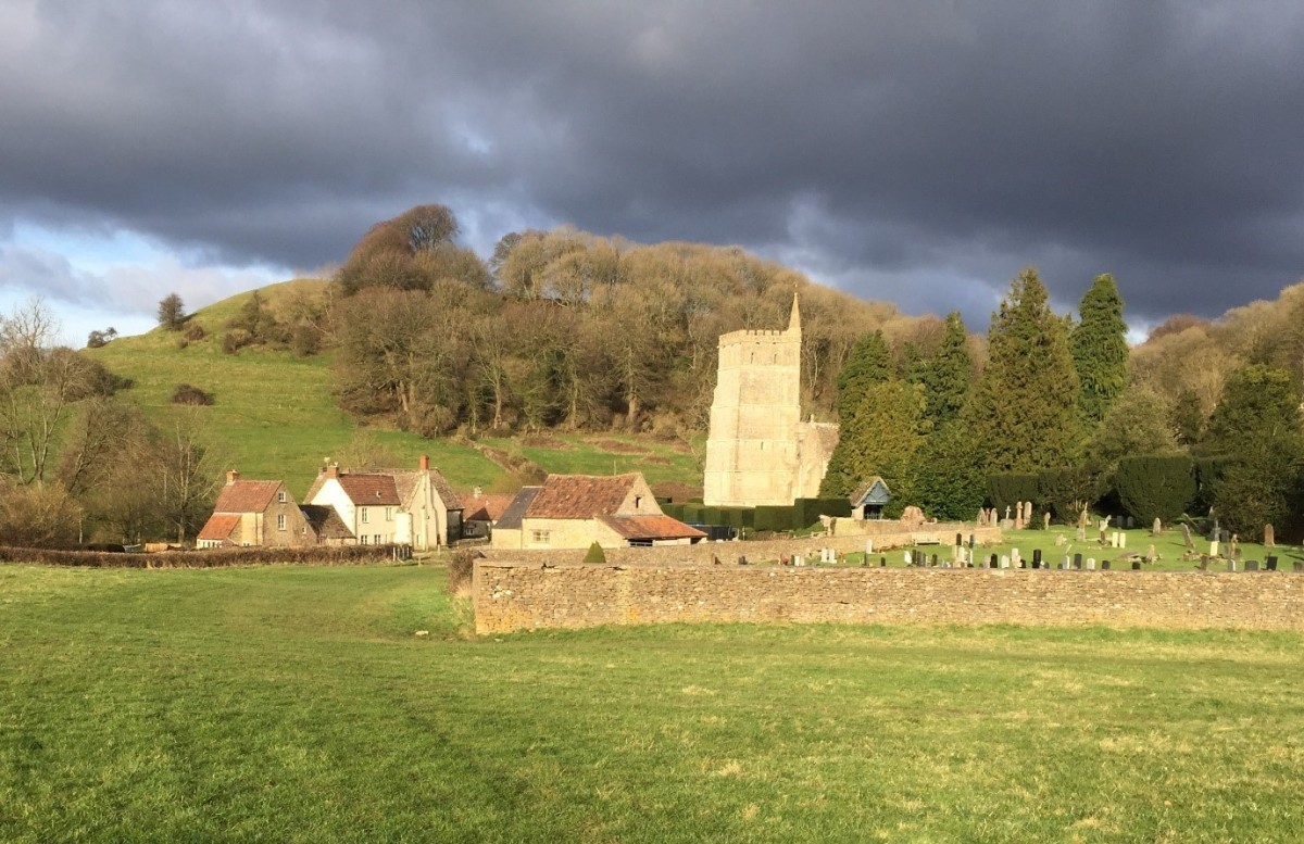 church against ominous dark sky